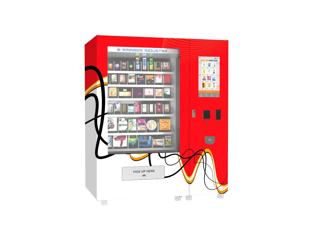Self Services Payment Food Vending Machine Thick Cold Rolled Steel Cabinet Material