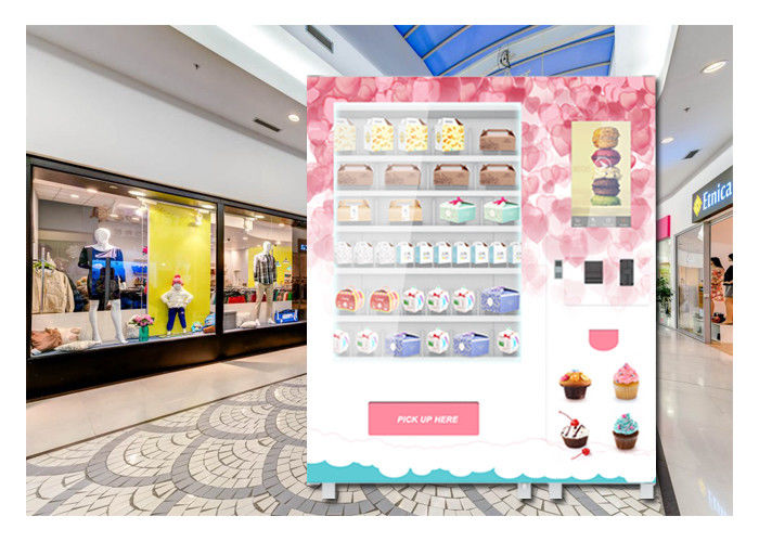 QR Code Payment Advertising Cupcake Bread Snack Vending Machine With Elevator System